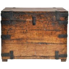 Wooden Storage Box with Metal Trim
