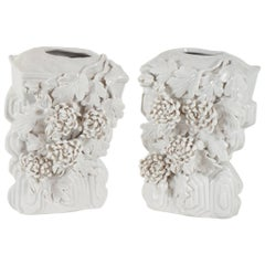 Pair of Blanc de Chine Vase Wall Brackets with Flower Motif