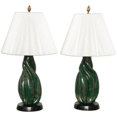 Murano Green and Silver/Gold Fleck Twist Cased Glass Lamps