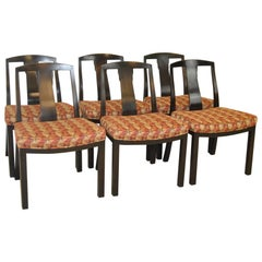 Set of Six Espresso Asian Mid-Century Modern Side Chairs by Baker Furniture