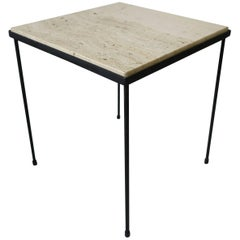 Italian Square Travertine Marble and Black Metal Side or End Table