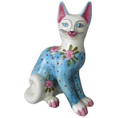 Vintage Italian Ceramic Cat 'Larger' Fornasetti Style Pink Blue White