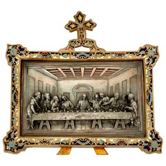 Antique French Champleve Enamel Frame Leonard De Vinci's Last Supper