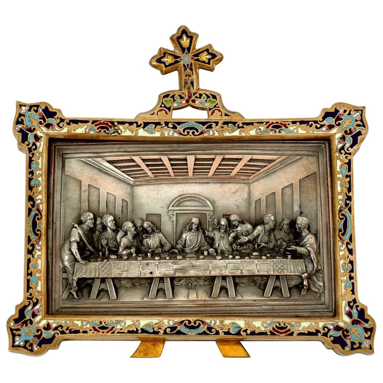 Antique French Champleve Enamel Frame Leonard De Vinci's Last Supper