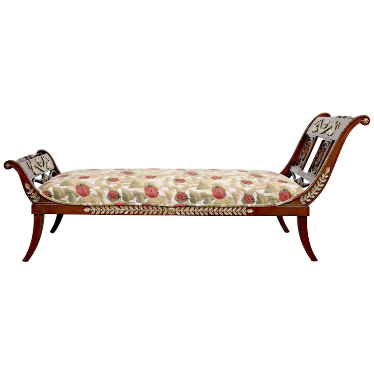 Early 19th Century French Empire Period Mahogany Lit De Repos or Chaise Longue