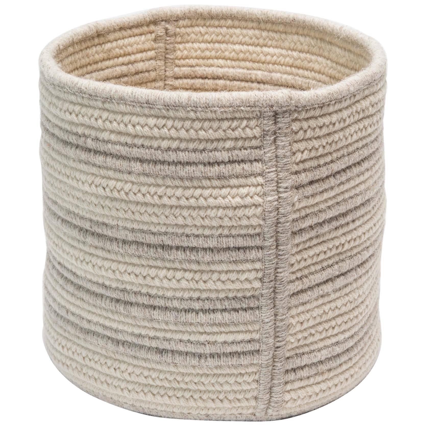 Natural Woven Wool Raised Line Soft Storage Basket in Light Grey Custom made  sc 1 st  1stDibs & Woven Wool Raised Line Soft Storage Basket in Light Grey Custom ...