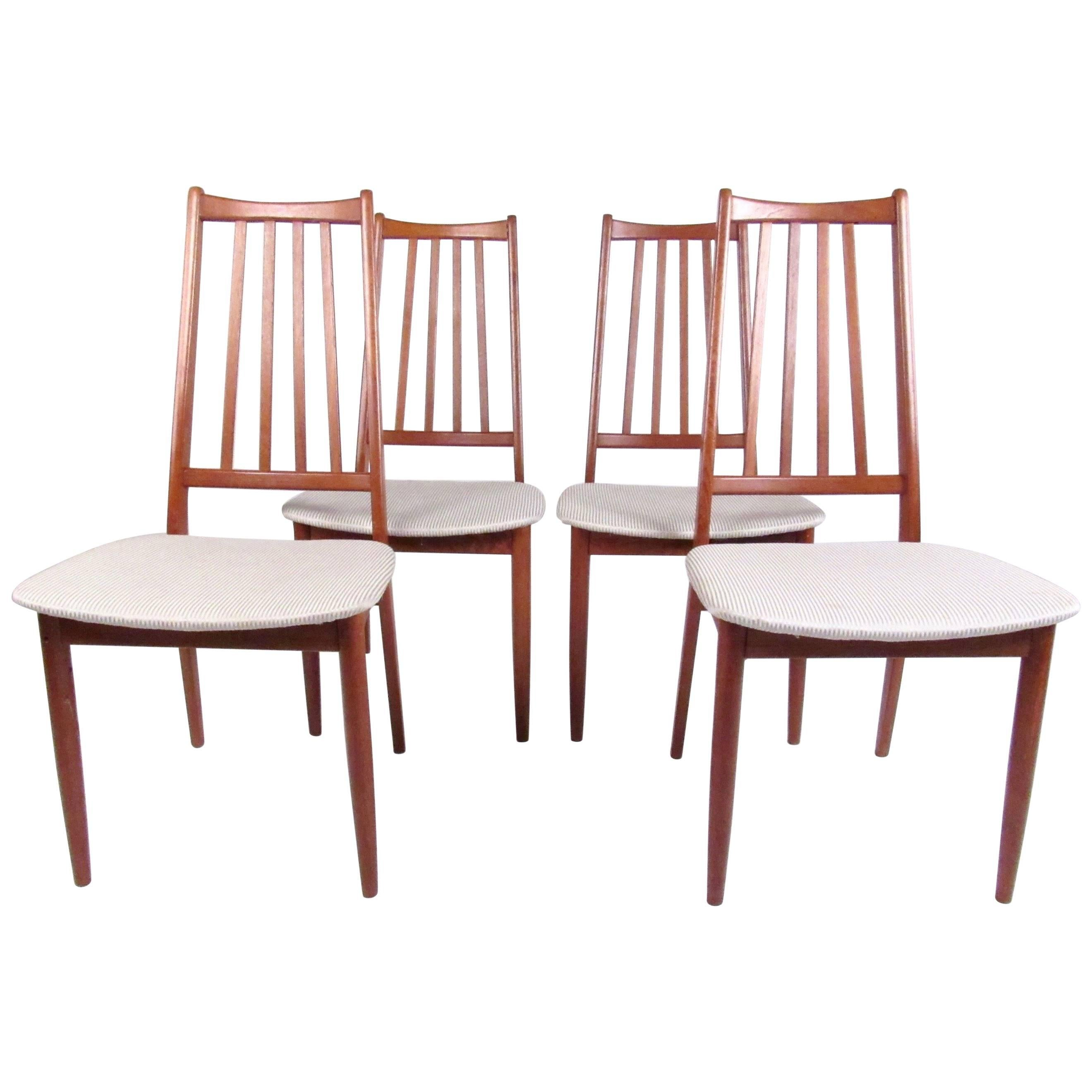 Set of Four Mid-Century Modern High Back Teak Dining Chairs