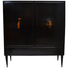 Ebonized Cabinet from Italy with Marquetry Details