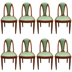Set of Eight Fine French Art Nouveau Beech Dining Chairs
