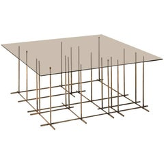 Tetris Coffee Table in Hand Burnished Brass and Glass by Gallotti & Radice