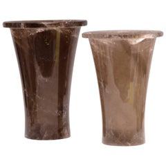 Group of Two Fine Carved Dark Rock Crystal Beaker Form Vases