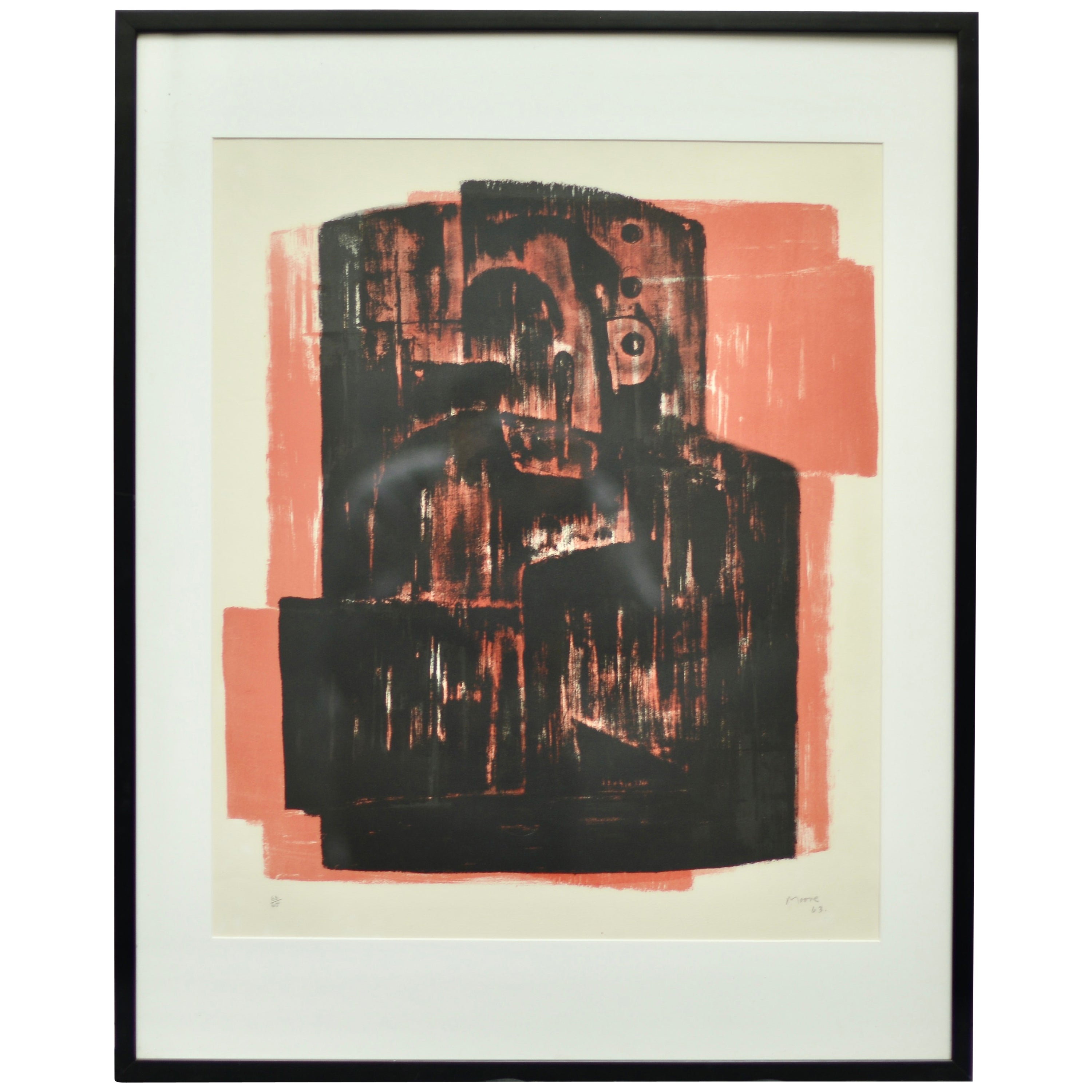 Henry Moore 'Black on Red' Lithograph, Signed and Numbered, 1963