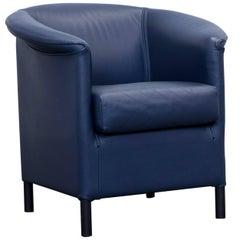 Wittmann Aura Designer Armchair Leather Blue Modern