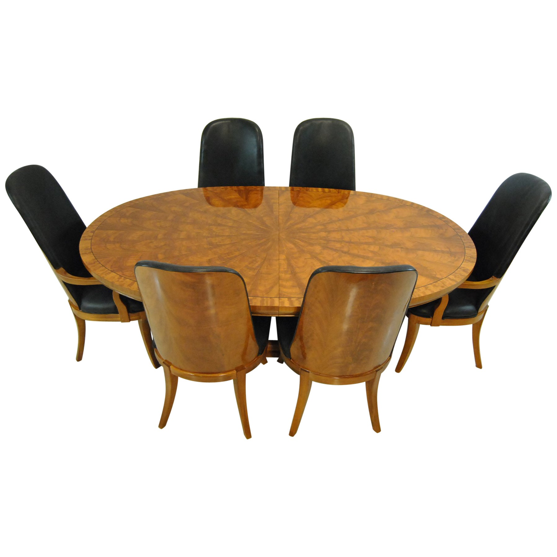 Starburst Double Pedestal Dining Table with Six Chairs by Henredon