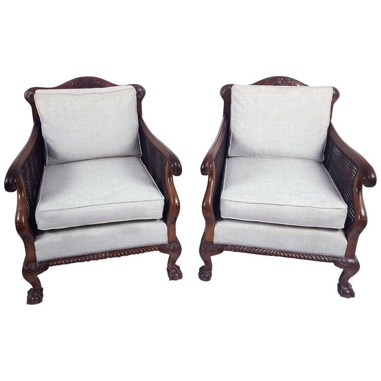 Pair of Chippendale Style Carved Walnut Bergere Armchairs
