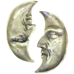 Rare Pair of 1940s American Bronze Moon Face Dishes