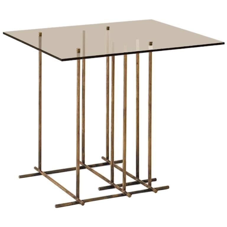Tetris Side Table in Hand Burnished Brass and Glass by Gallotti & Radice