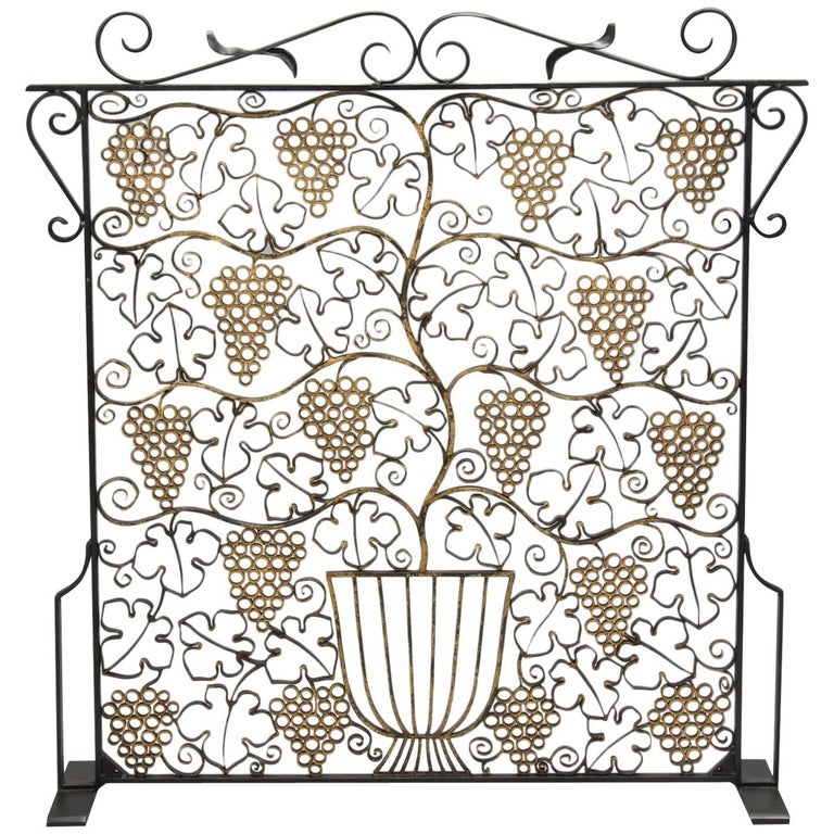 Fireplace Screen Made from French Art Deco Iron Grill
