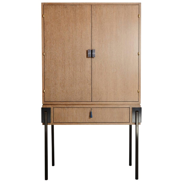 'Hex' Cabinet in Cerused Oak, Leather and Bronze by Christina Z Antonio