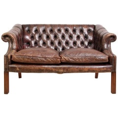 Two-Seat Leather Club Sofa