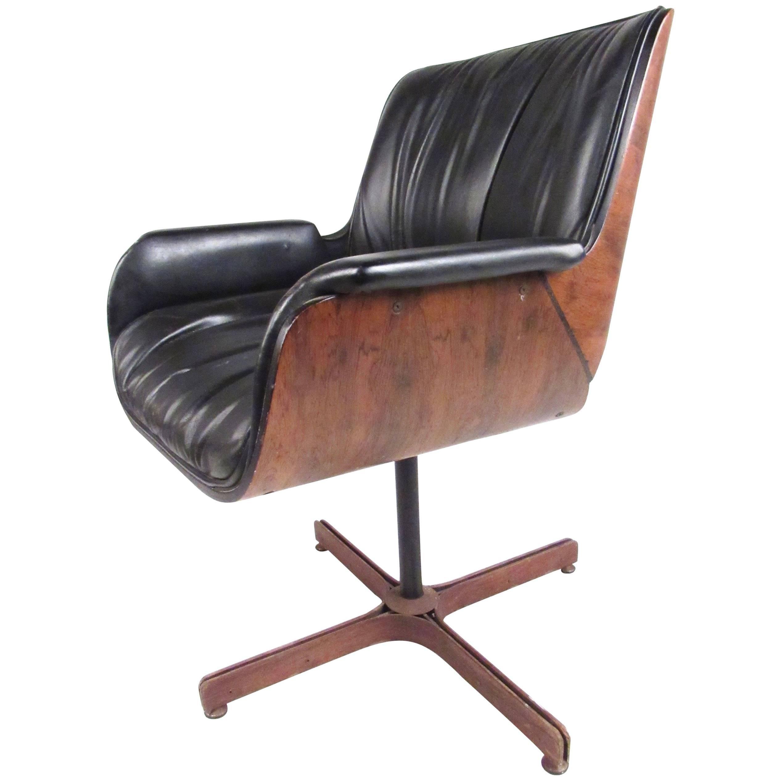 Mid-Century Modern Swivel Leather Armchair