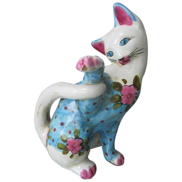 Vintage Italian Ceramic Cat 'Smaller' Handmade in Italy, Fornasetti Style 1