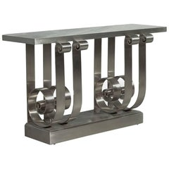 Stunning Polished Stainless Steel Marble-Top Console Entrance Table