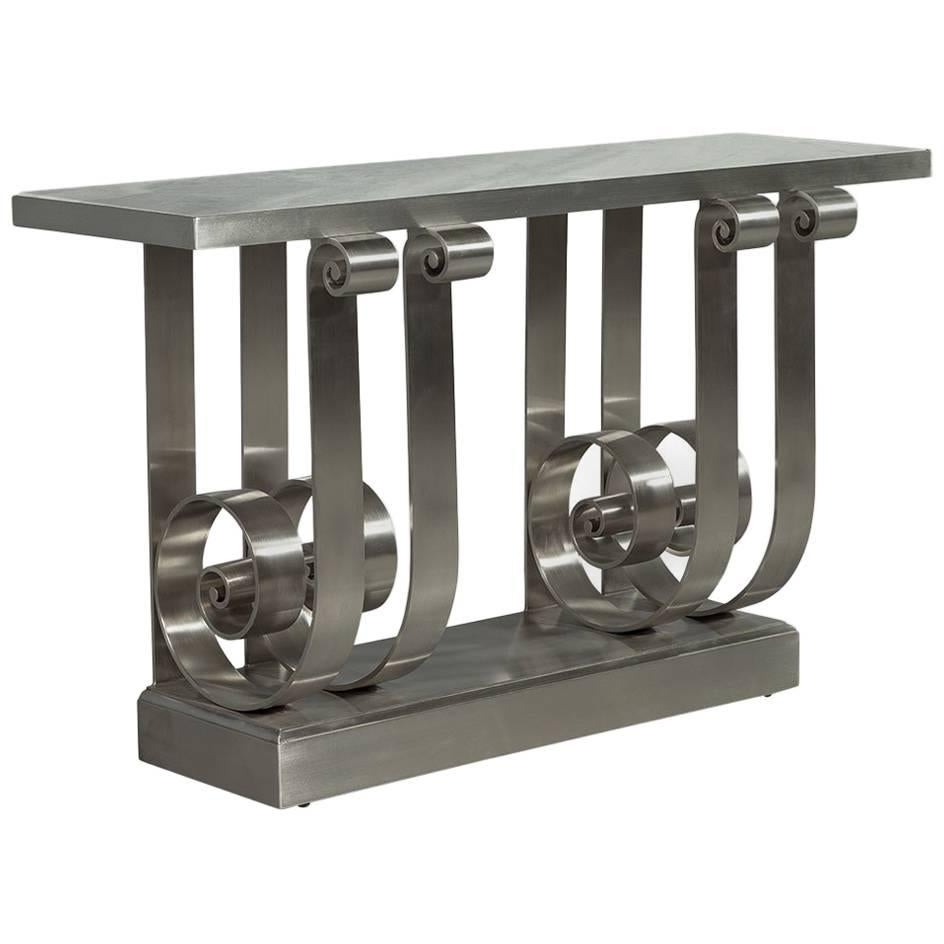 Delicieux Stunning Polished Stainless Steel Marble Top Console Entrance Table For Sale