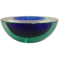 Murano Glass Sommerso Bowl by Italian Designer Flavio Poli