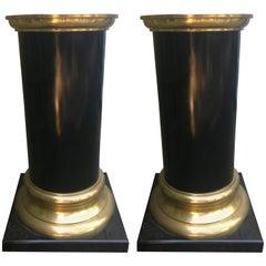 Handsome Pair of Wood and Brass Mid-Century Modern Pedestals