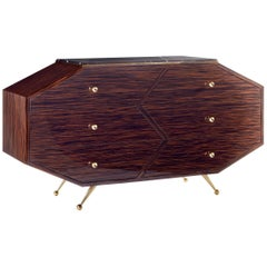Art Deco Macassar Ebony Sideboard With Brass Hardware And Black Marble Top