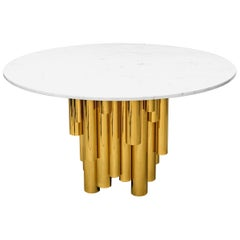 Round Brass Tubular Dining Table with Marble Top