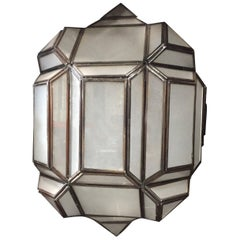 """Lucy"" Geometric Design Pendant Light Moroccan Style Milk Glass"