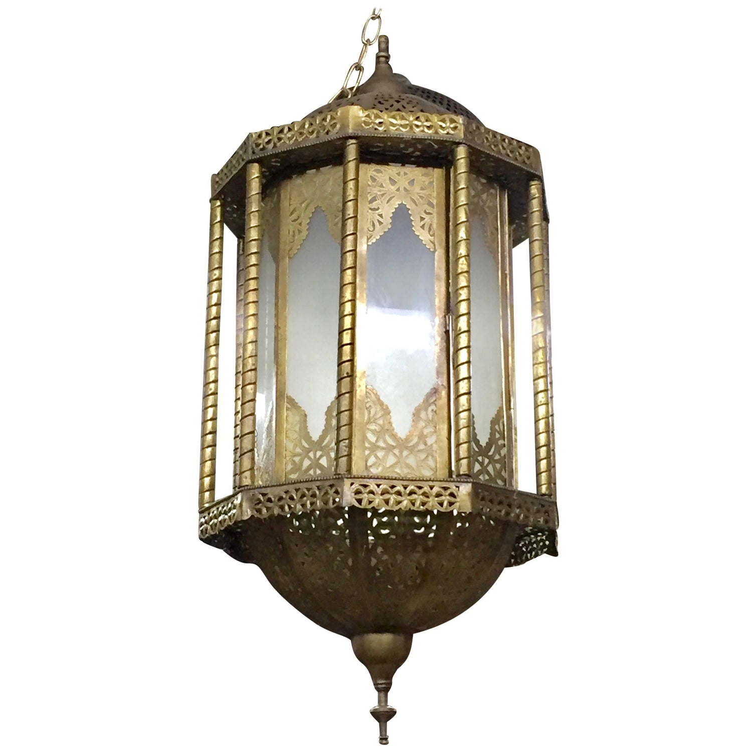 Antique Moroccan Islamic Style Brass and Green Glass Lantern