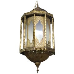 """Holly"" Moroccan Brass and Glass Hanging Chandelier or Lantern"