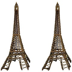 Pair of Eiffel Tower Twig Sculptures