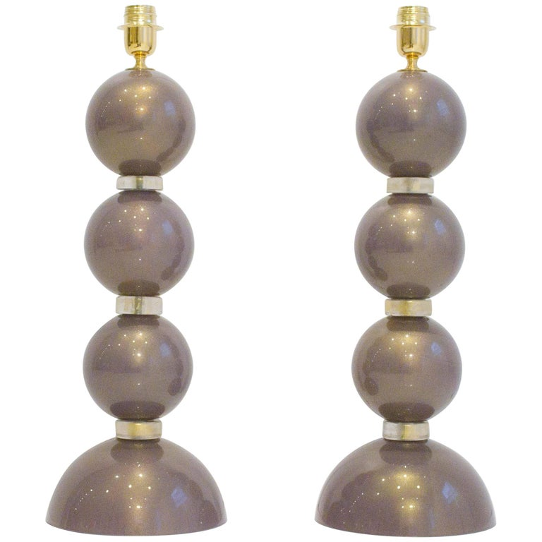 Pair of Unique Italian Murano Amethyst and 23-Karat Gold Infused Glass Lamps 1
