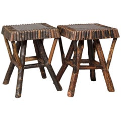 Pair of Natural Wood Adirondack Stools