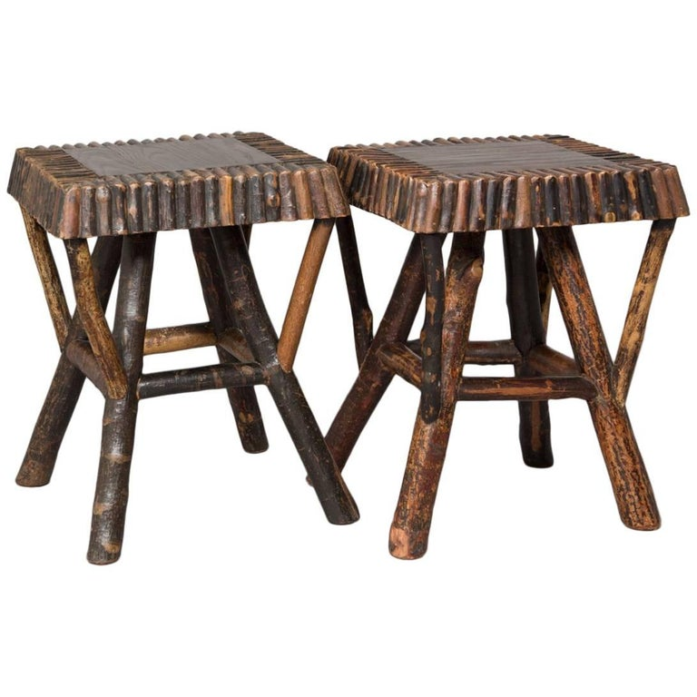 Pair of Natural Wood Adirondack Stools For Sale