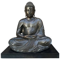 "Large Fine Japanese Bronze Seated Buddha 25"" tall with Custom Black Display Base"