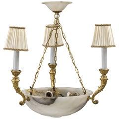 Alabaster Brass Chandelier Empire Style