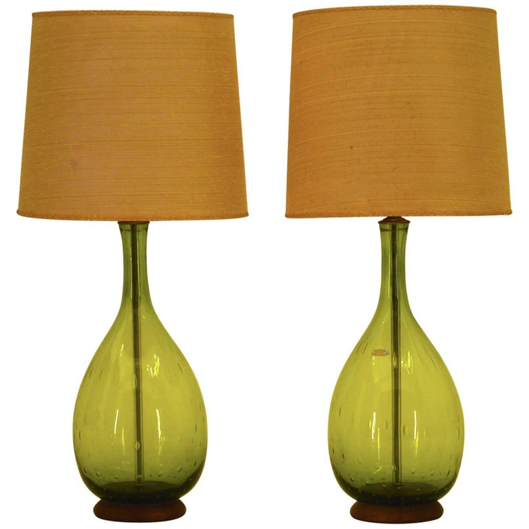 Joel Myers Large Blenko Table Lamps 1967 in Olive Green Glass