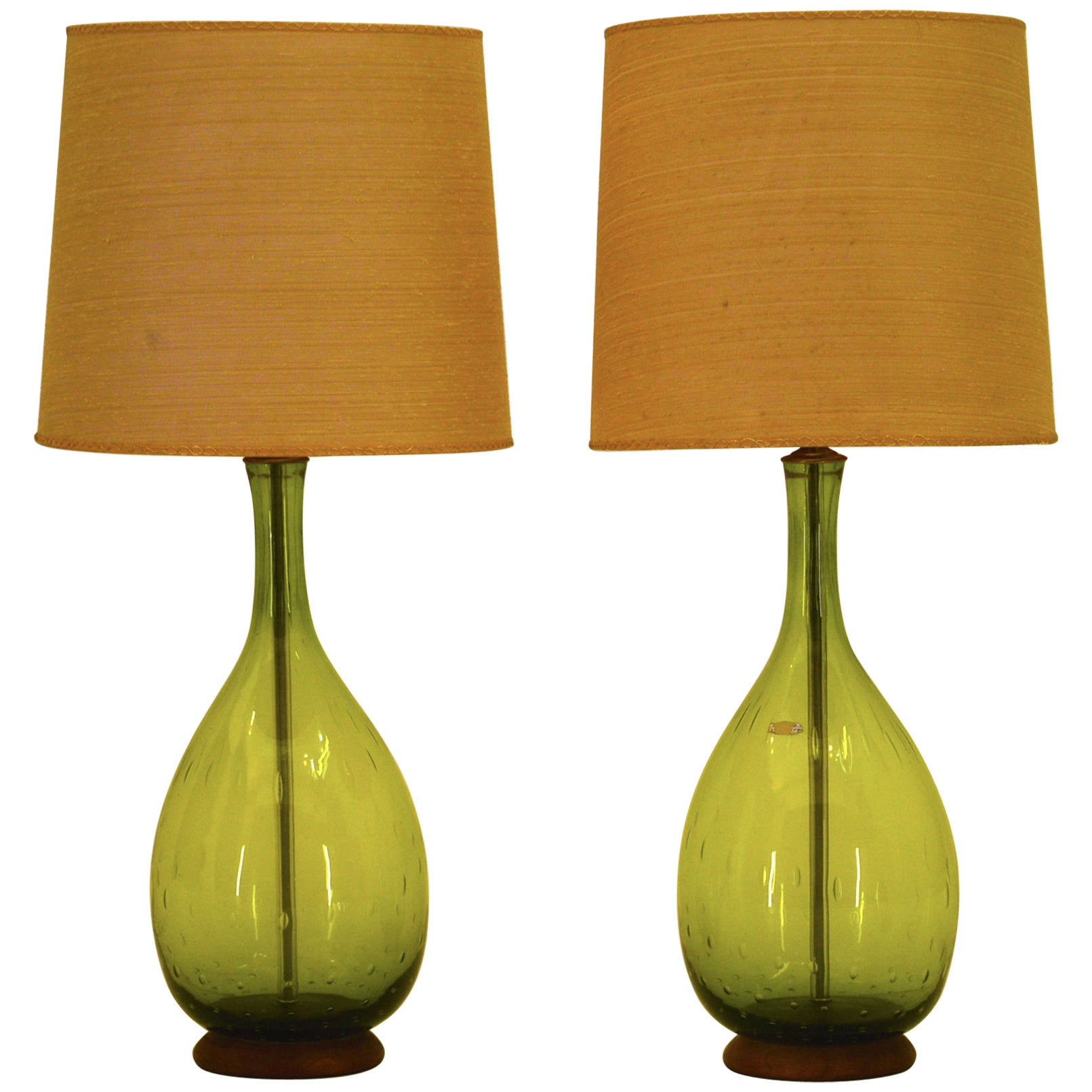 Joel Myers Large Blenko Table Lamps 1967 In Olive Green Glass At 1stdibs