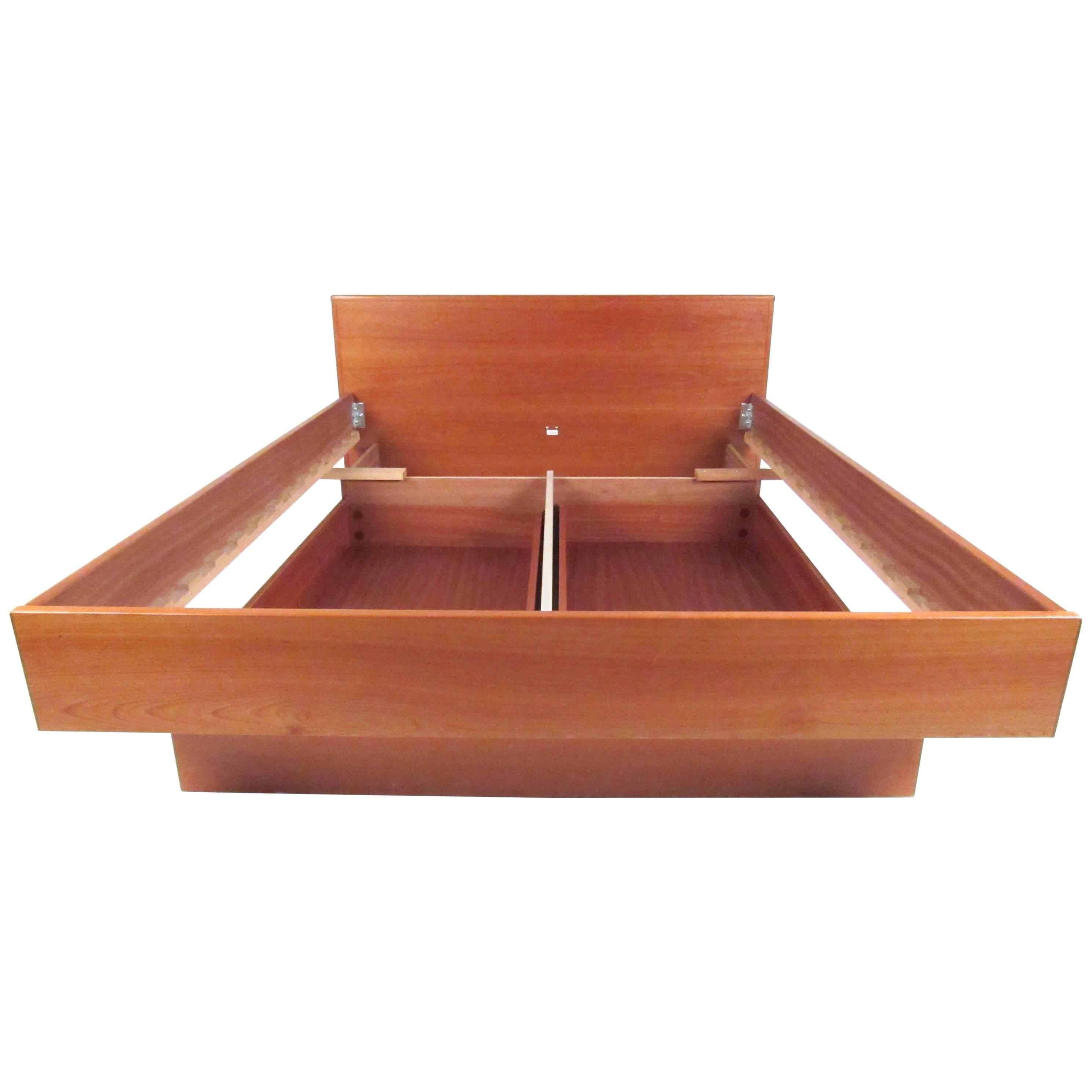 modern style teak platform bed with storage drawers