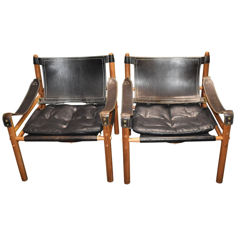 Arne Norell Safari-Lounge Rosewood Chairs Model Sirocco, 1960s For Sale