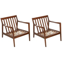 Pair of Teak Lounge Chairs by Folke Olhsson, 1950s, Denmark
