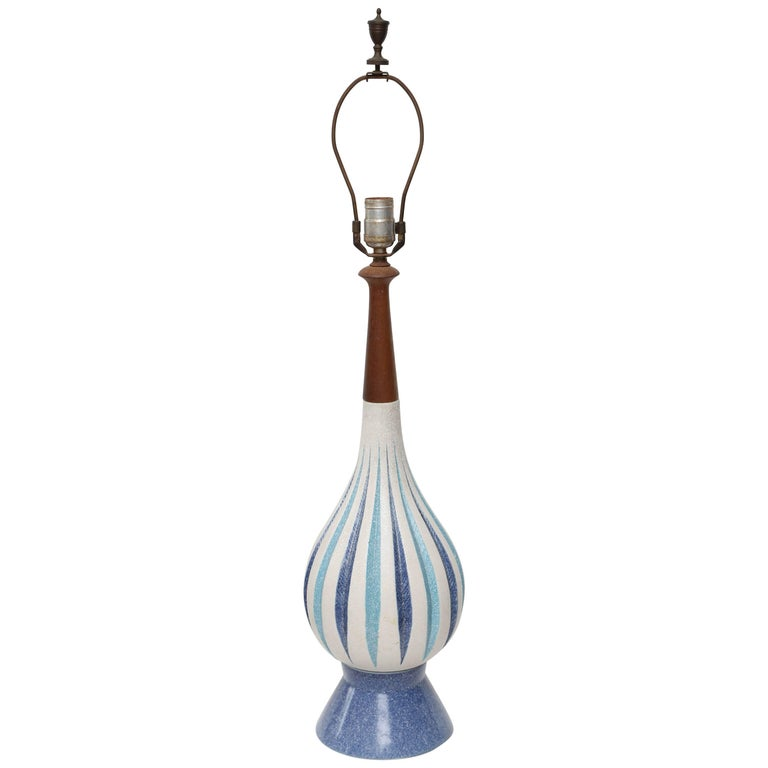 MCM Ceramic and Teak Lamp, 1960s, USA