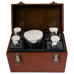 Pinteaux French 18-Karat Gold Sterling Silver Crystal Travel Vanity Set, Case