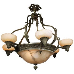 Early 20th Century Art Deco Silvered Bronze Alabaster Six-Light Chandelier
