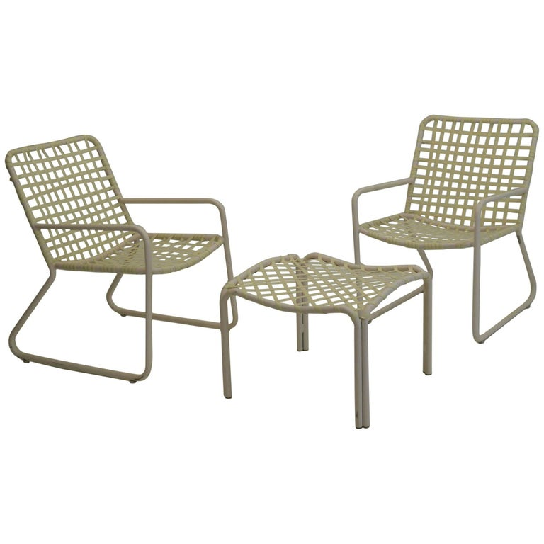 Brown Jordan Patio Set Of Two Chairs And Ottoman For Sale